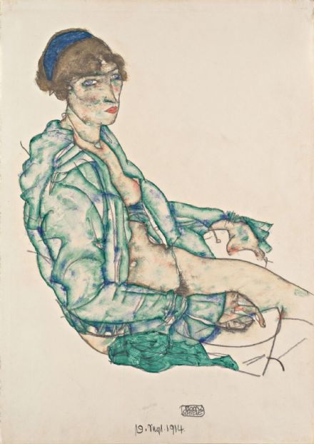 Schiele, Egon: Sitting Semi-Nude with Blue Hairband. Fine Art Print.  (003723)